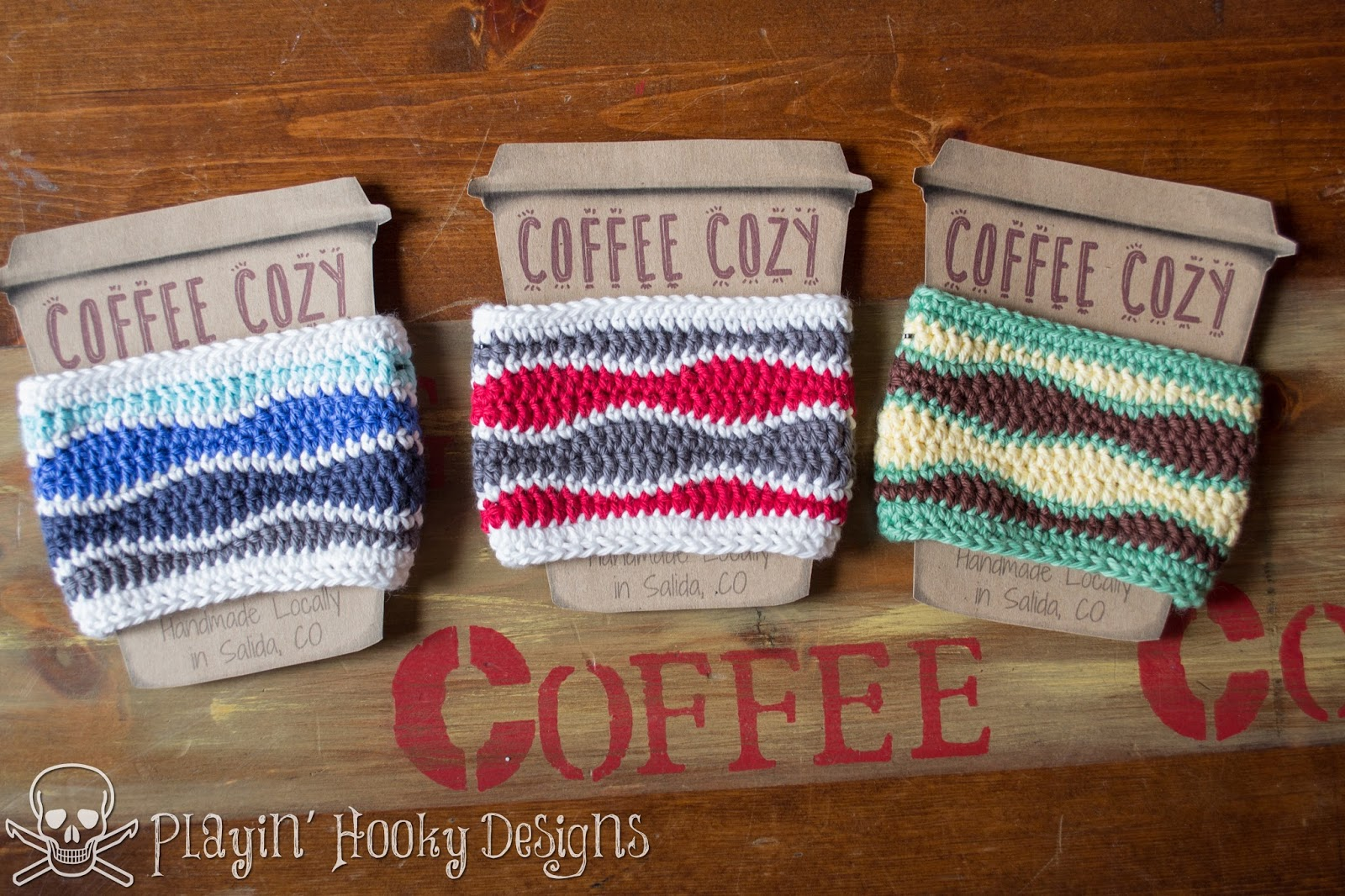Playin\' Hooky Designs: Brain Waves Coffee Cozy Free Crochet Pattern
