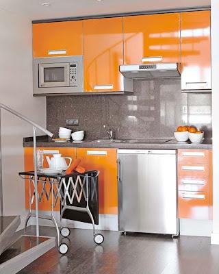 cocina naranja moderna