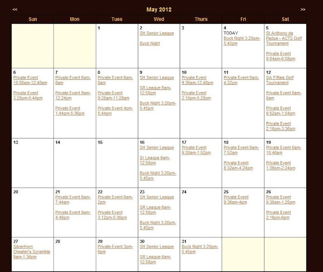 May Calendar With Events : Silverhorn golf club of texas may