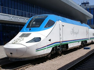The Talgo Afrosiabs arrives in Tashkent