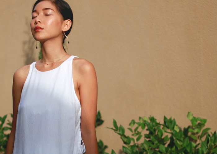 Stephanie Liu of Honey & Silk wearing A.L.C. Rolston Dress
