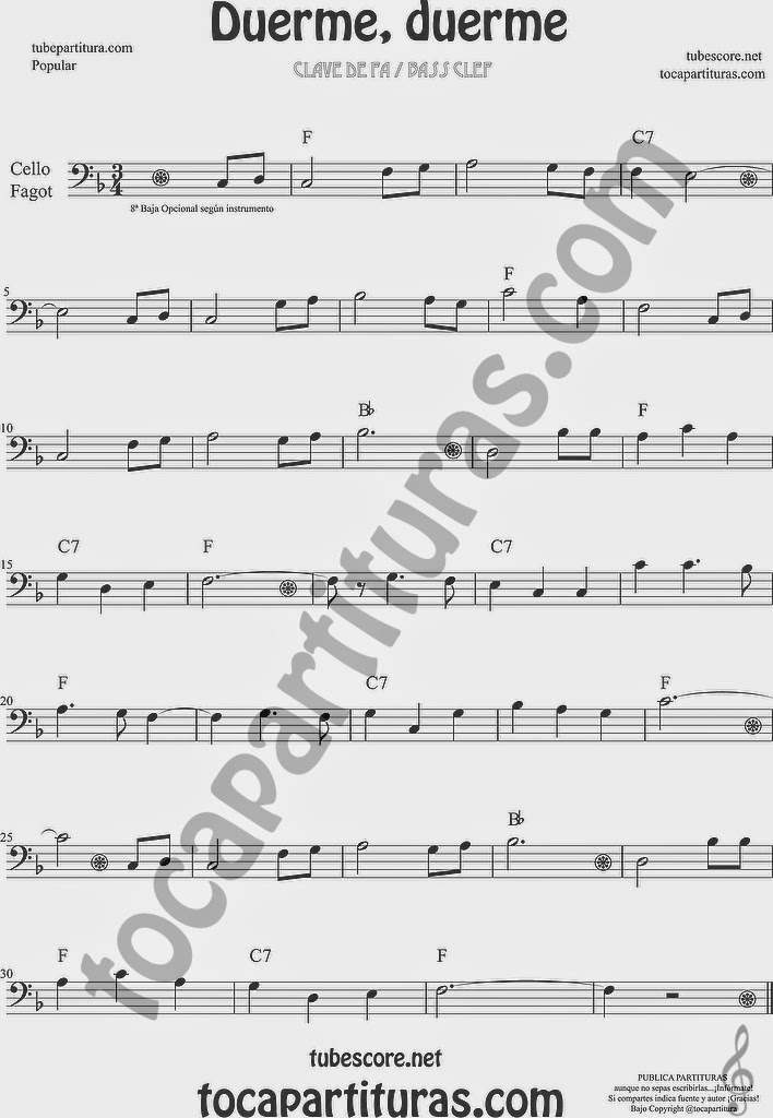 Duerme Duerme Partitura Popular de Violonchelo y Fagot Sheet Music for Cello and Bassoon Music Scores