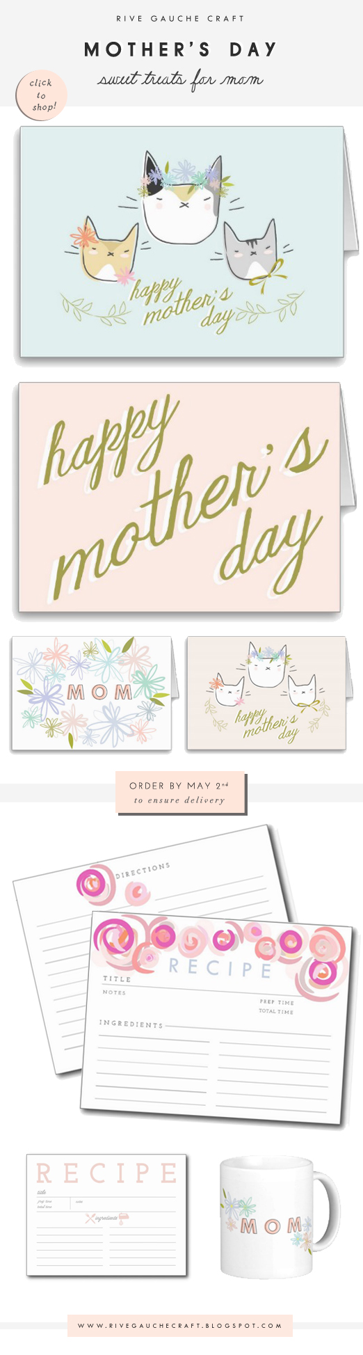 Illustrated Greeting cards and pretty gifts for Mom on Mother's Day