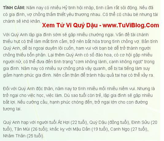 Boi Tu Vi Quy Dau Duong Tinh Duyen