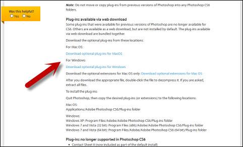 Opcioni dodaci dostupni za preuzimanje na Photoshop Help