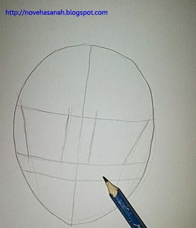 tambahkan garis bantu untuk menggambar bagian mata karakter anime cewek