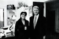 Monica Lewinsky in the Oval Office with Bill Clinton
