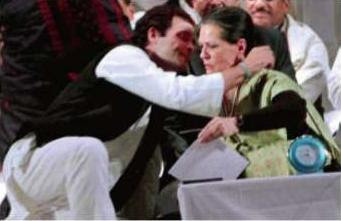 Congress vice-president Rahul Gandhi hugs his mother