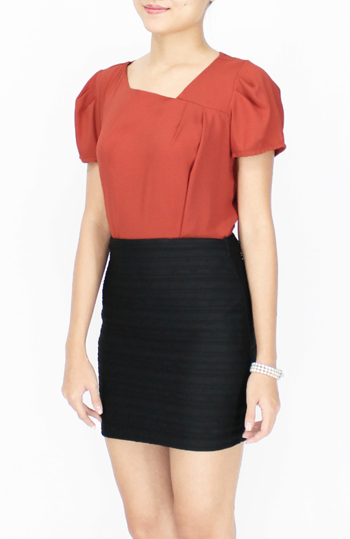 Classic Diagonal V Neck Blouse with Side Pleat