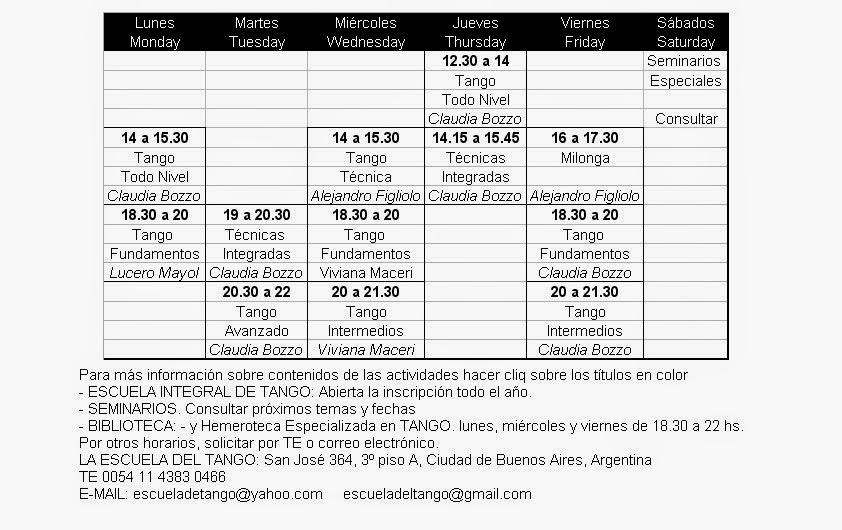 Horarios todo el Año / Schedule