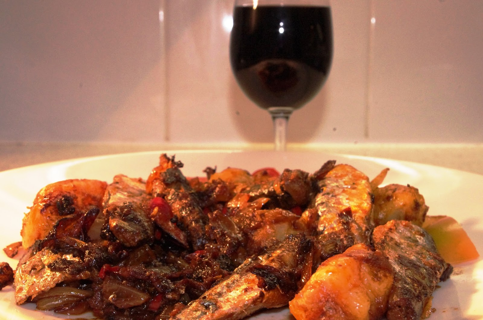 brown in town red wine with fish wine spice