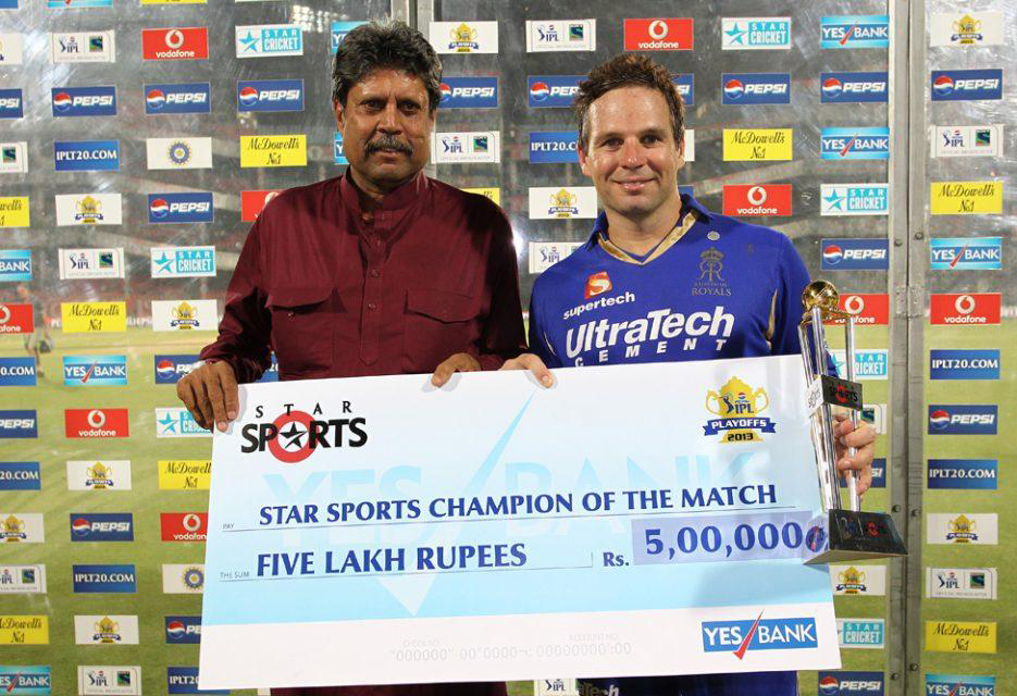 Brad-Hodge-Champion-of-the-Match-Trophy-RR-vs-SRH-Eliminator-IPL-2013