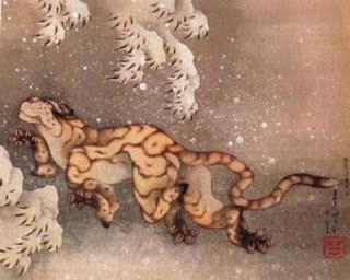 Tigre en la neu (Katsushika Hokusai)
