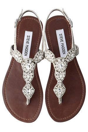 Beautiful Jeweled Flat Sandals For Summer