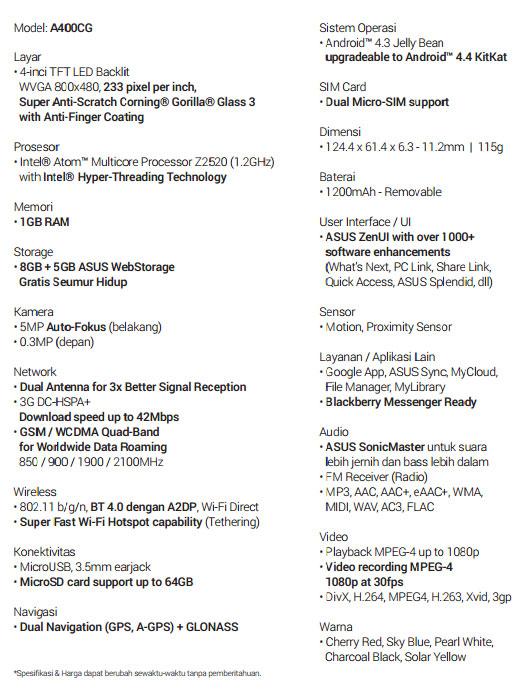 Spesifikasi ASUS ZenFone Smartphone Android Terbaik Zenfone 4