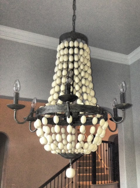 Whimsy girl pretty things wood bead chandelier i knew when i started to select lighting that i wanted a wood bead chandelier here is what we ended up with aloadofball Image collections