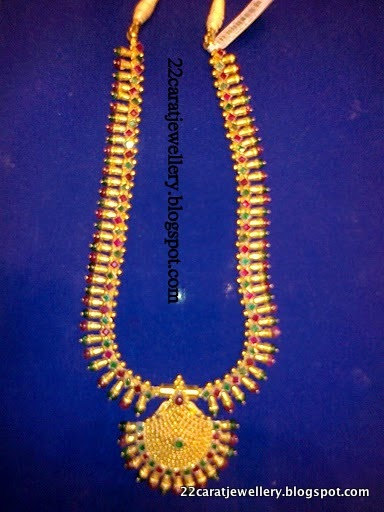 22 Carat Gold Long Chains Haram Designs With Rubys