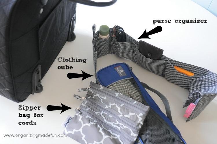 Purse organizer and clothing cubes for organizing the laptop bag :: OrganizingMadeFun.com