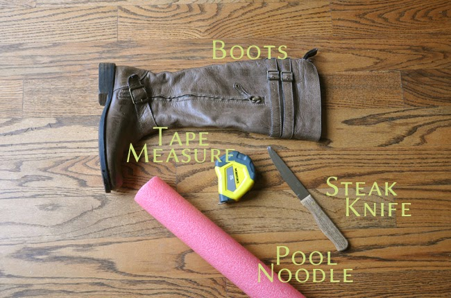 Materials needed to make your own boot shapers.