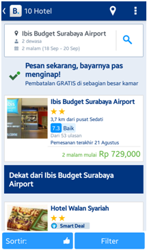 Tampilan search result di aplikasi Booking.com