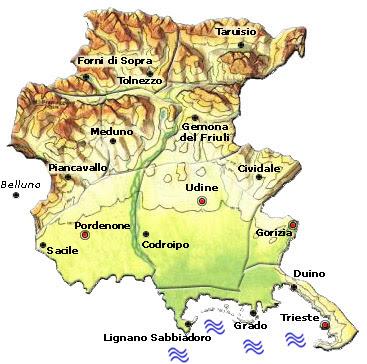 Cartina Politica della Friuli Venezia Giulia