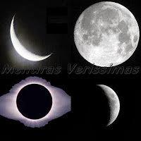 Lua Nova, Lua cheia, Quarto crescente e quarto minguante: as quatro fases da lua.