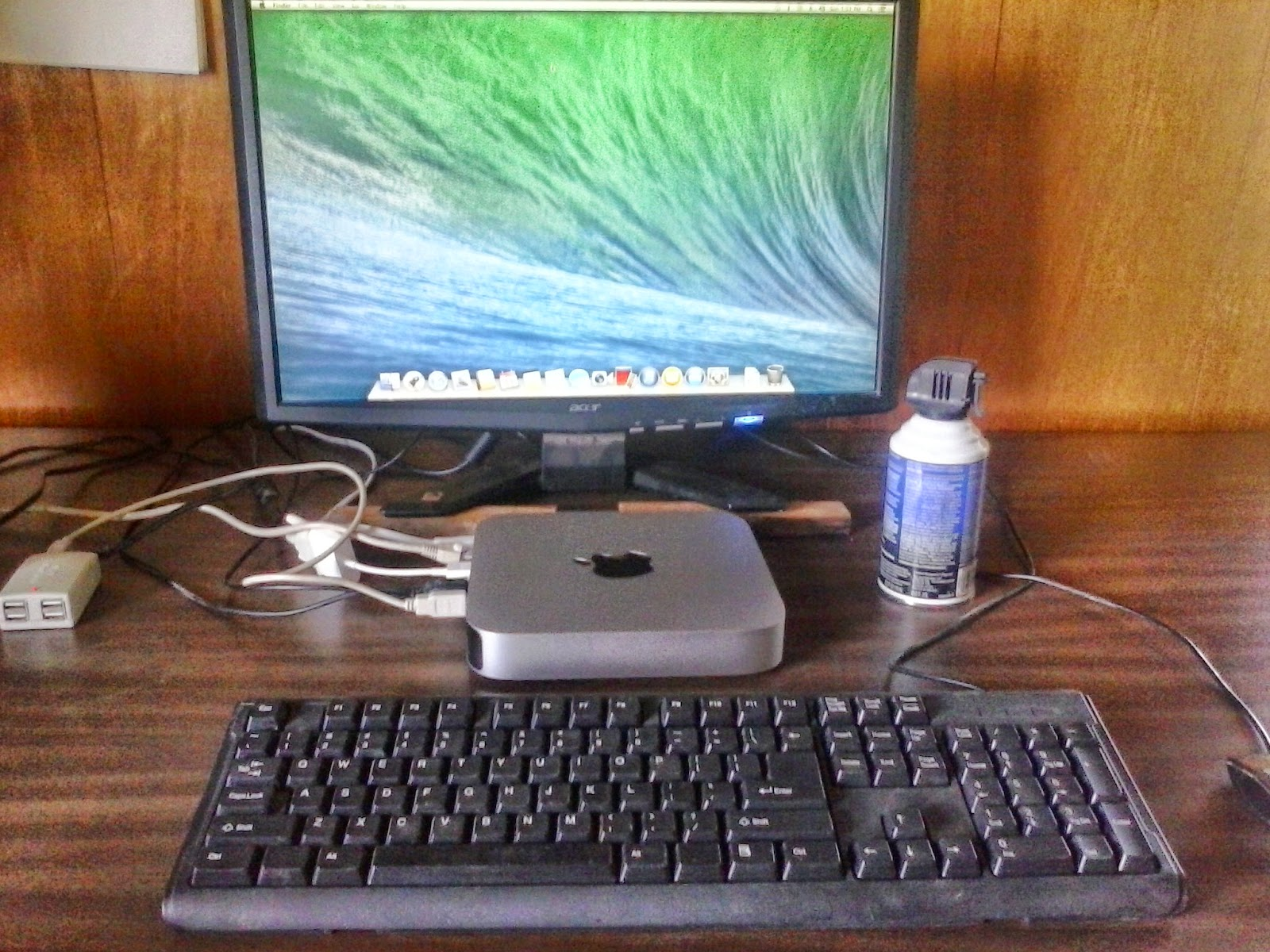 My MAC mini with leftover/spare USB keyboard, mouse and HDMI monitor. Ready to self-publish books...