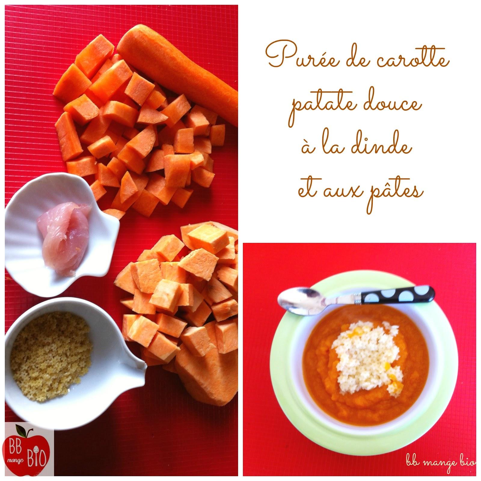 BB mange bio recette de Purée de carottes, patate douce à la dinde et aux pâtes