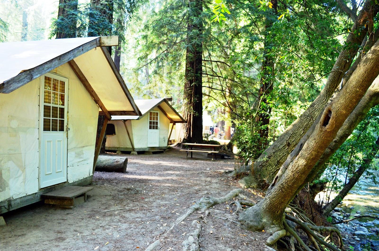 Tent cabins at Fernwood Resort right along the river. & El San Carleño: Big Sur