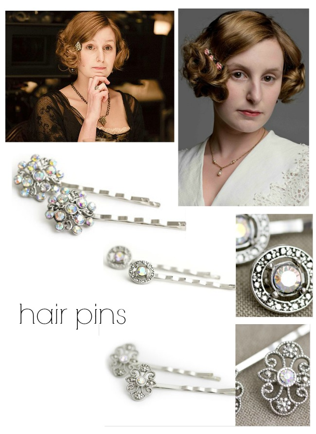 Lady Edith Downton Abbey style hair accessories and downton hairstyles via va voom vintage