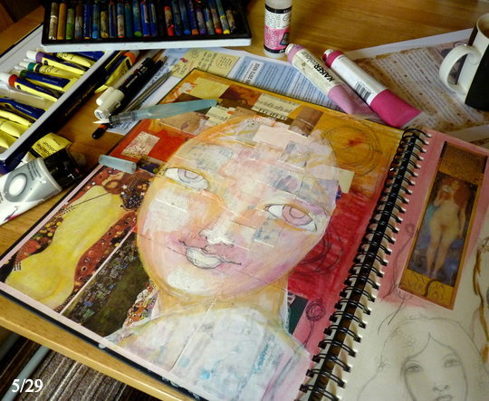 Whoopidooings: Carmen Wing - In my sketchbook - Mixed Media Face in progress