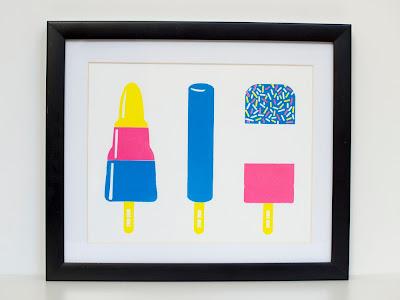 Framed Ice Lollies Screen print