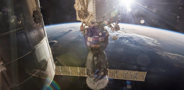 The Soyuz TMA-15M vehicle has been docked to the Rassvet module since it carried NASA astronaut Terry Virts, ESA (European Space Agency) astronaut Samantha Cristoforetti and Russian cosmonaut Anton Shkaplerov to the International Space Station in Nov. 2014. Credit: NASA