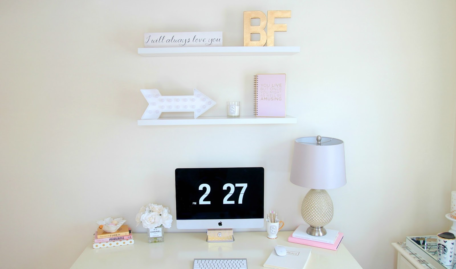 Desk Decor - Office Decor - Home Office - Girly Desk - Ikea Desk - Floating Shelves - DIY Room Decor - Imac - Clock Screensaver