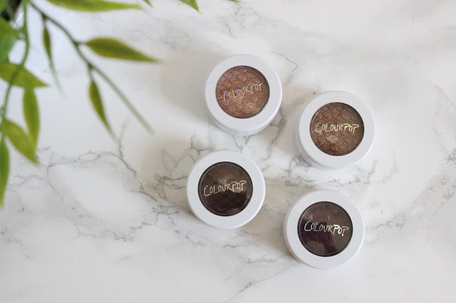ColourPop Eyeshadows - La La, On The Rocks, Mittens and Hustle.