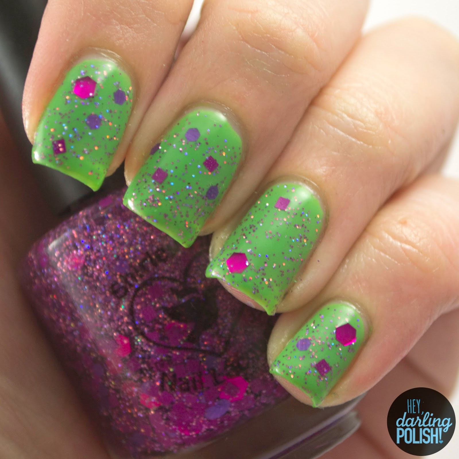 green, knot-knot, glitter, purple, nails, nail polish, polish, indie, indie nail polish, indie polish, hey darling polish, shirley ann nail lacquer, swatch