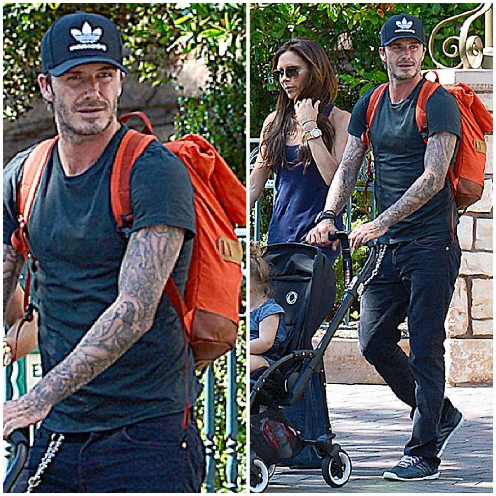 00O00 Menswear Blog: David Beckham's Seil Marschall backpack - Disneyland, California August 2013