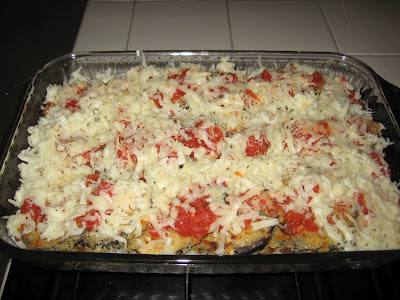 Eggplant Parmesan before going in the oven