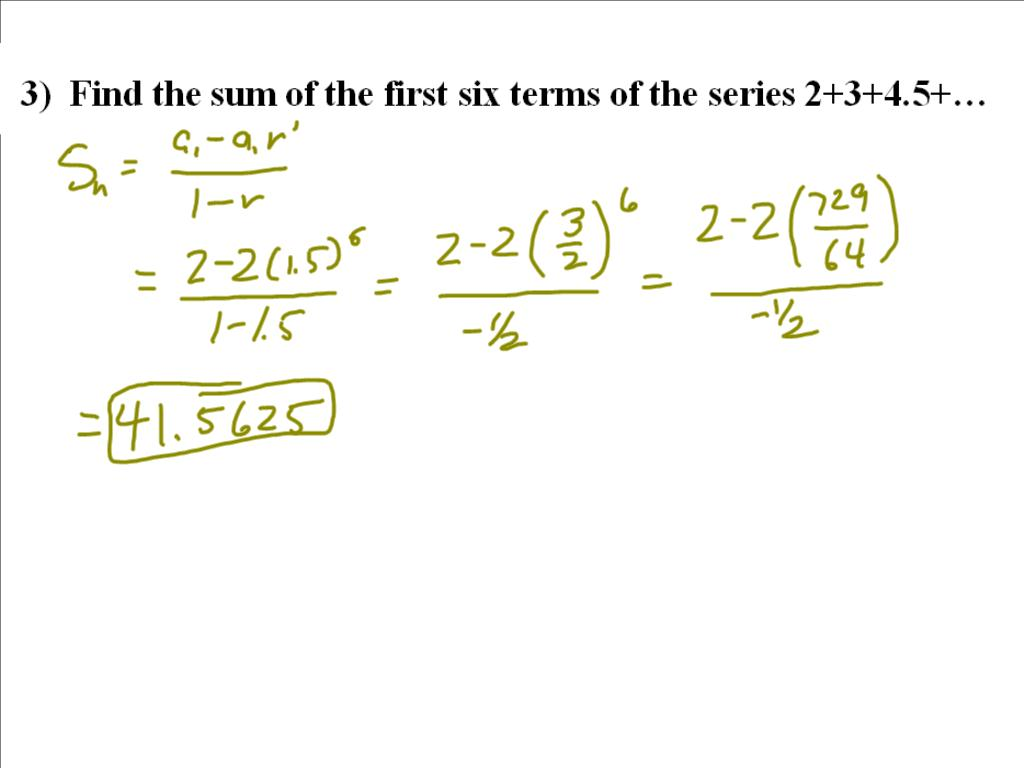 Worksheets Geometric Series Worksheet mr flanagans class geometric series worksheet solutions solutions