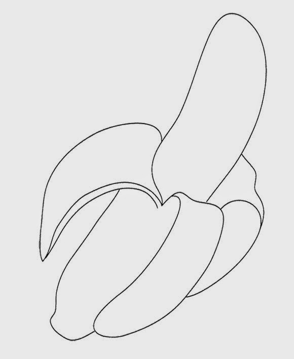 Gambar latihan mewarnai buah pisang gratis untuk anak