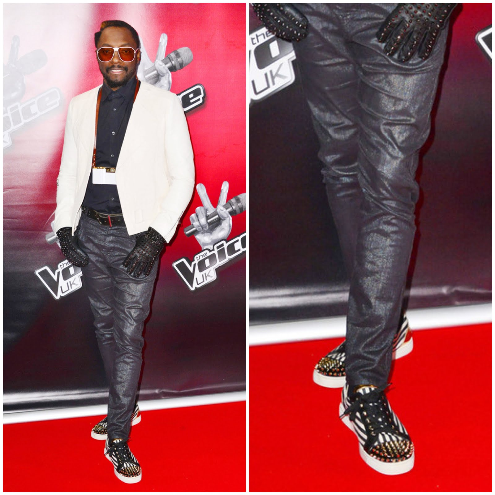 00O00 Menswear Blog Will.i.am attends a photocall to launch the second series of 'The Voice' at Soho Hotel in London, March 11, 2013. Will.i.am wore Christian Louboutin Louis flat junior spikes sneakers