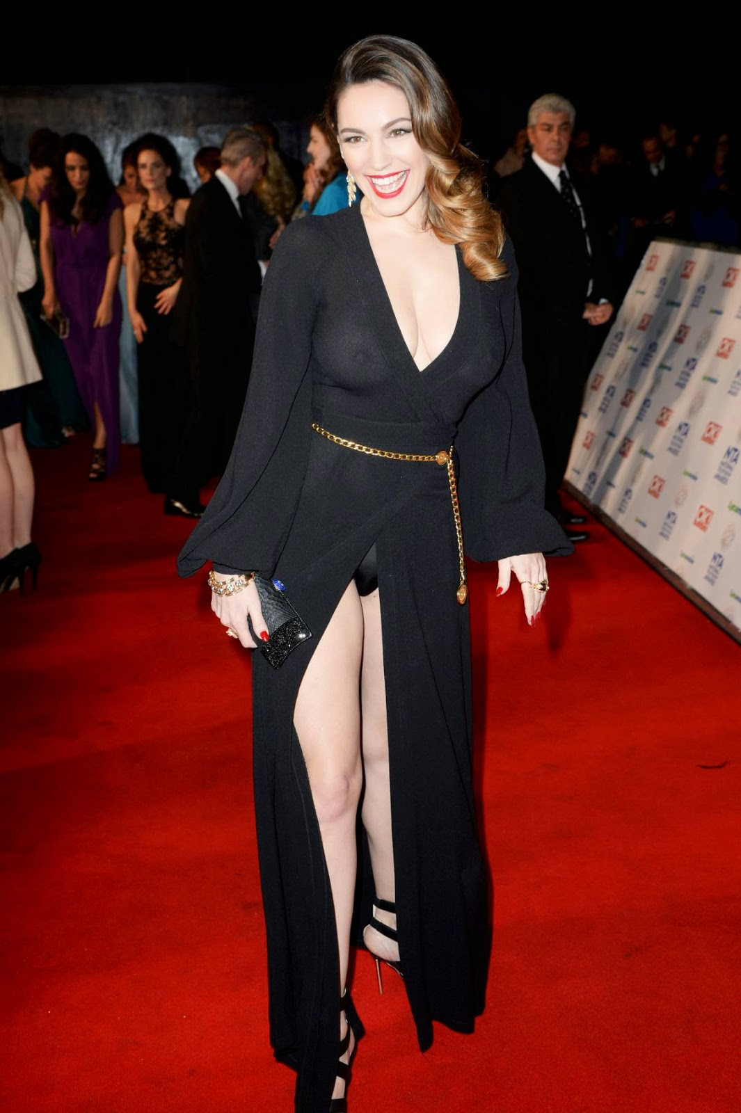 Kelly Brook Braless In A See Through Dress At The National Television Awards