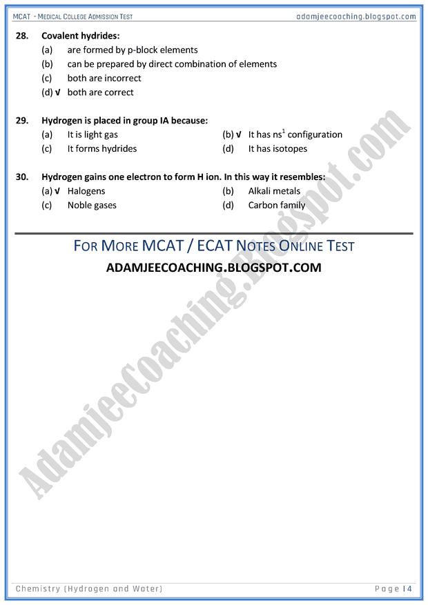 mcat-chemistry-hydrogen-&-water-mcqs-for-medical-entry-test
