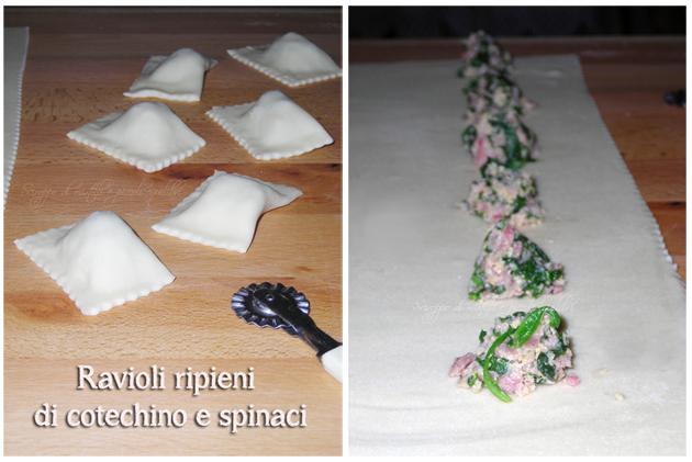 Ravioli ripieni di cotechino e spinaci, preparazione