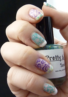 Green and Purple stamping Mani