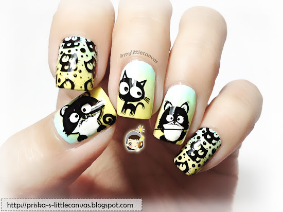 Crazy Cat Nails by @mylittlecanvas