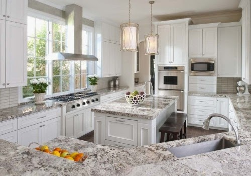 white kitchen granite counter