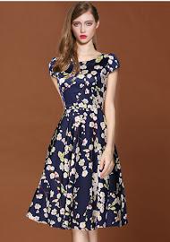 Simple Elegant Sakura Printing Flare Dress