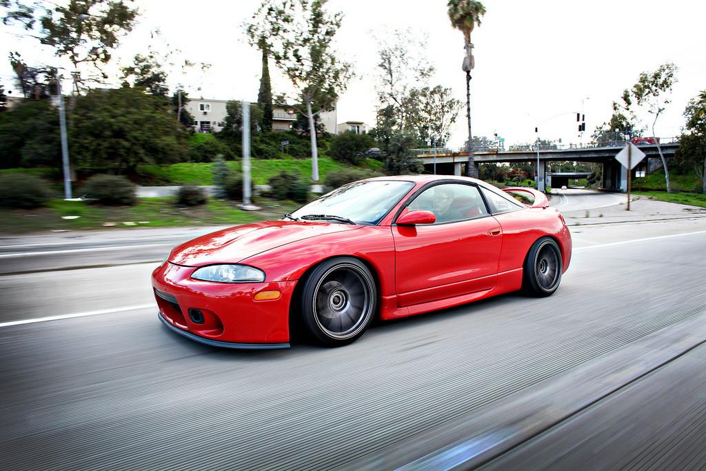 Mitsubishi Eclipse 2G, czerwony, przód, druga generacja, japońskie coupe, usportowione, 4G63, tuning, zdjęcia