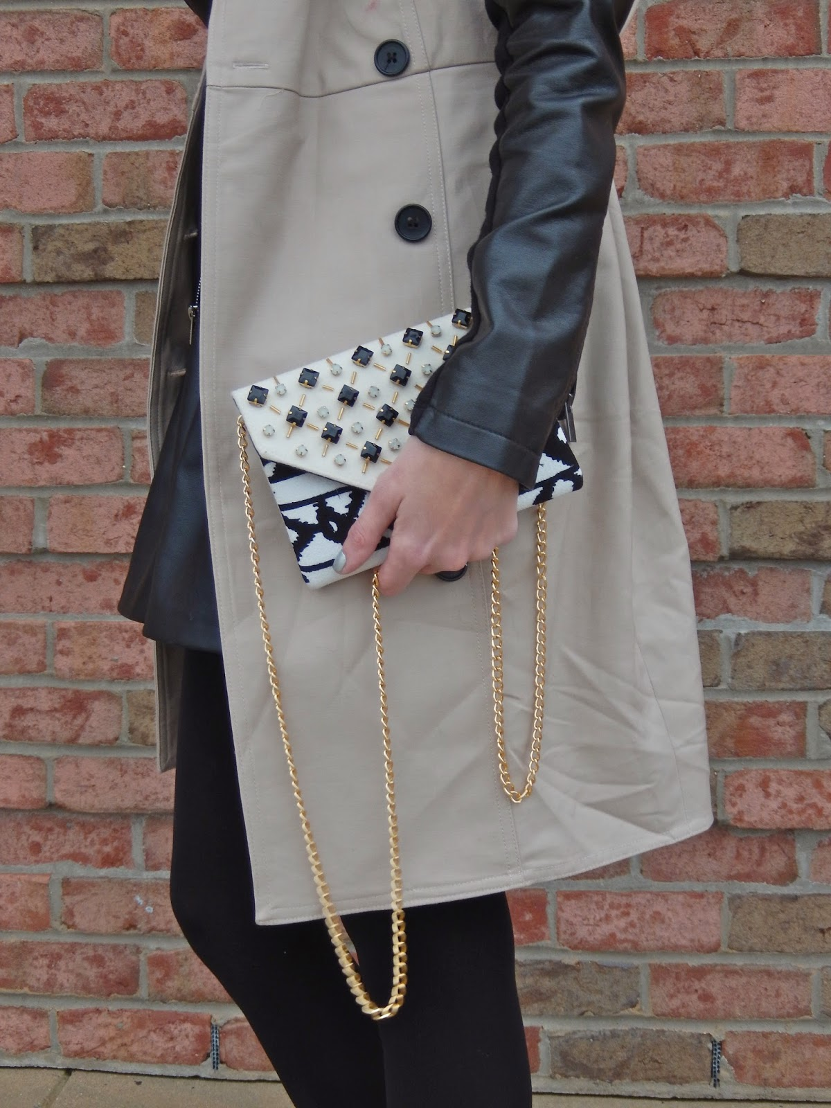 Ann Taylor Sleeveless Tench Coat, Express Leather Jacket, Anjolee Tennis Bracelet, Rainy Day Dress Up Look